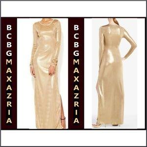 BCBG MaxAzria Long Gold Metallic Dress